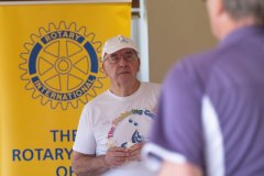 Des Joyner of Pantiles Rotary dressed in a Pickering Cancer Centre tee shirt to help them on the day
